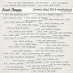 [Every Day] 2014 Resolutions by Lauren Grier  at Sweet Shoppe Designs