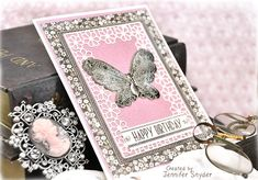 Scrap Escape: Cards to Celebrate This features the beauty of the Tallulah Frill Frame from Becca Feeken's Chantilly Paper Lace collection by Spellbinders.    (gorgeous papers from Maja Design) #spellbinders #NeverStopMaking #spellbloggers  #majadesign #Amazingpapergrace #majadesignsweden