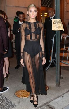 Can't deal with how amazing Pia Mia looks in this sheer black number at Harper's Bazaar's Icons party.