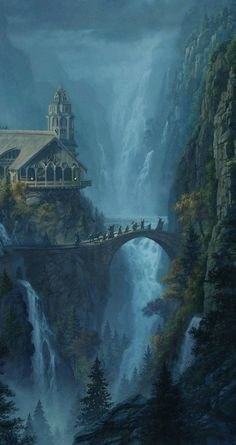 Long was the way that fate them bore. — The Fellowship Leaves Rivendell by Jerry. Fantasy Art Landscapes, Fantasy Landscape, Fantasy Artwork, Fantasy Concept Art, Dark Fantasy Art, Landscape Art, Fantasy Places, Fantasy World, Lord Of The Rings