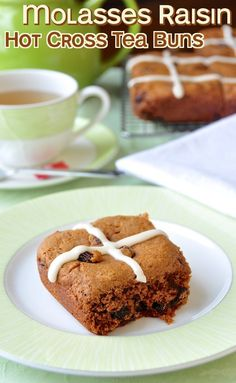 Hot Cross Molasses Raisin Tea Buns - a quicker alternative to hot cross buns for Easter morning, especially if you love the flavour of molasses.