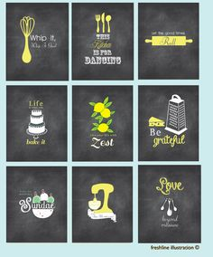 kitchen quote wall art, funny utensil pictures, canvas or prints