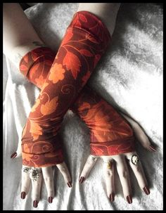 Indian Summer Arm Warmers  Burgundy Sage Rose by ZenAndCoffee, $26.00