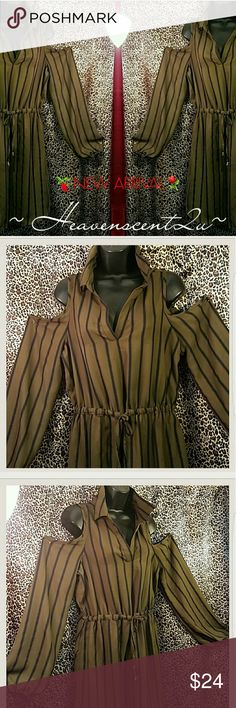SEIZE THE DAY☘ Wake up and be FABULOUS. slip this dress on and be carefree.  Dress style: Cold Shoulder pinstripe fabrication  Elasticized waist/Sleeves draw string  Notched collar  Color: Olive green and navy blue NWOT   Thanks for stopping by my Posh Closet  Please come again soon  Ciao Blush Dresses Midi