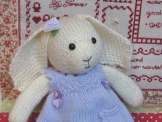 Hand knitted bunny doll and her name is Lilly by dollsandbunnies