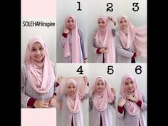Hijab tutorial. Works best with wide rectangular scarfs.
