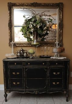 Dresser, turned into folding table, for the mudroom. Stained a dark walnut Dresser, turned into fold Black Furniture, Paint Furniture, Furniture Makeover, Black Buffet Table, Home Goods Decor, Interior Decorating, Interior Design, Country Decor, Decoration