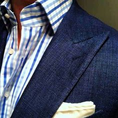 Navy Linen with a bold check shirt.  Great summer look.  get yours at www.bspokestyle.com