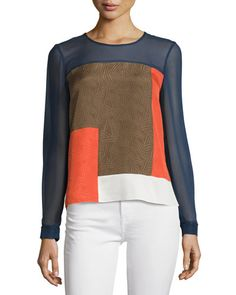 TCGLZ Diane von Furstenberg Reagan Long-Sleeve Silk Colorblock Top, Midnight/Orange/Canvas
