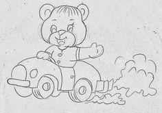 desenho de ursinho no carrinho para pintar