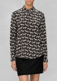 & OTHER STORIES Made from soft mulberry silk, this shirt features a buttoned front and a classic straight fit. Mulberry Silk, Zebra Print, Fashion Prints, My Wardrobe, Ready To Wear, Beige, Pullover, Swimwear, Anger Management