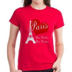 Cafepress Personalized Paris Eiffel Women's Dark T-Shirt, Size: XL, Red