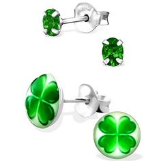 925 Sterling Silver Hypoallergenic Set of 2 Pairs St Patricks Day Emerald Green Oval CZ  Four Leaf Clover Stud Earrings for Girls and Women Nickel Free 20787 ** Find similar St Patty's Day products by clicking the image