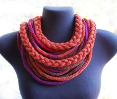 Knitted Summer Tube scarf, in orange, purple, brown and red