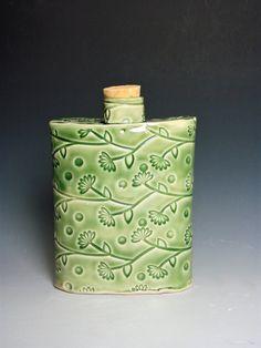 Ceramic Decorative Flask Ceramic Bottle Corked Bottle. Leaf