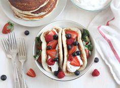 Fruity Pancake Tacos (use low carb pancake recipe, filled with Greek yogurt) #lowcarb