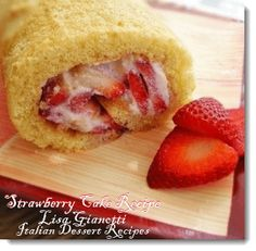 Fresh Strawberry Cake with a ricotta filling.  Great for Valentines Day~ Lisa