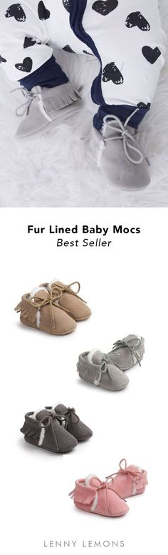 UP TO 70% OFF + FREE US SHIPPING. Soft bottom sole, great for babies & first time walkers. Slide on, warm fur lining. Great for cooler weather. Excellent baby shower gift! Lenny Lemons, babies apparel. #baby #shoes #gift
