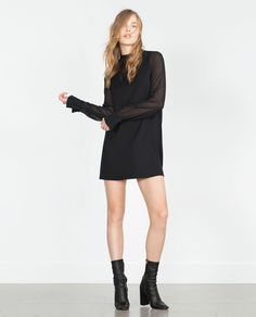 SHEER SLEEVE DRESS WITH TIE-UP NECKLINE-View all-Dresses-WOMAN | ZARA United States