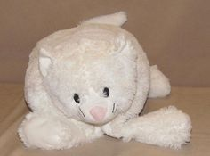 Costco Little Miracles White Kitty Cat Folding Pillow Velcro Stuffed Plush Lovey #LittleMiracles
