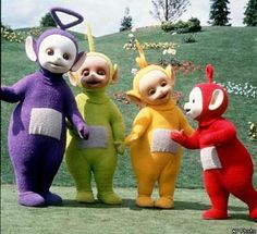 1997--PBS-- Teletubbies Named Dipsy (Lime Green), Tinky Winky (Purple), Laa-Laa (Yellow), and Po (Red