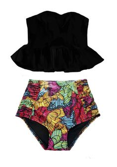 PRODUCT INFORMATION    Retro padded top and high-waist bottom swimsuit.    This bottom is superb quality.        Looking for more varieties of this