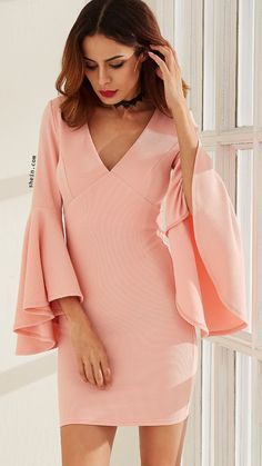 cbdaf66f05a89 SheIn offers Pink V Neck Oversized Bell Sleeve Sheath Dress   more to fit  your fashionable needs.