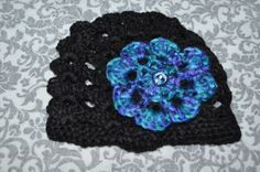 Black Crochet Baby Beenie with flower and by ESCreations14 on Etsy, $18.00