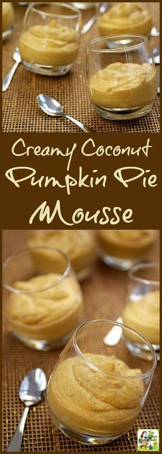 This Cream Coconut Pumpkin Pie Mousse recipe is vegan, gluten free, dairy free…