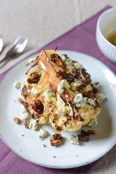 Chou-fleur rôti, fromage bleu et noix caramélisées Recette