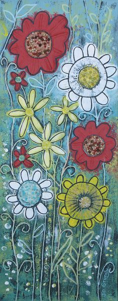 Beautiful Blooms - mixed media on a 20 x 51cm canvas (original sold)