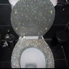 Glitter toilet seat is so glam!!!!