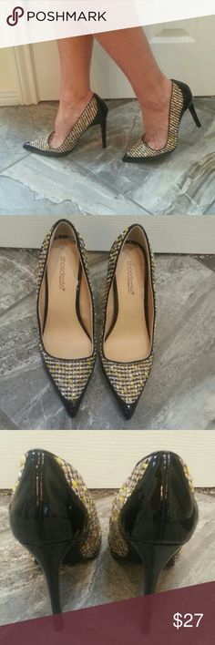 """BLACK/NEON STELLITO PUMPS Show stopping black with neon yellow, gold and white tweed along the front and sides of shoe. Classic pointed toe silloutte. Heels measure 4.5"""". Style is Cobi. Padded footbed. Used for a two hour event. Practically new! Shoe Dazzle Shoes Heels"""