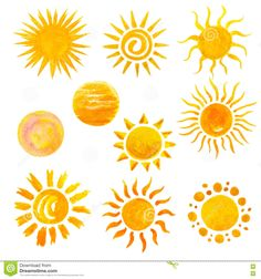 Illustration about Set of watercolor sun icons isolated on white. Illustration o… Illustration about Set of watercolor sun icons isolated on white. Illustration of summer, paintings, circle – 69867247 Sun Painting, Summer Painting, Painting & Drawing, Watercolor Paintings, Wolf Tattoos, Finger Tattoos, Ear Tattoos, Celtic Tattoos, Animal Tattoos