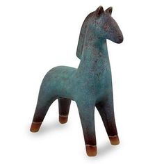 Turquoise Blue and Brown Handcrafted Ceramic Sculpture