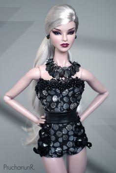 "https://flic.kr/p/EZ8GoW | Sexy Black | Model : Fashion Royalty Mademoiselle Jolie ""Ombres Poétique"" Costume : BonettaShop @ Etsy  www.etsy.com/listing/272509536/sexy-black-jumpsuit-belt-n..."