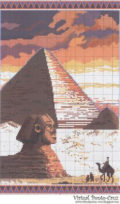 Egyptian pyramid x-stitch Embroidery Patterns Free, Cross Stitch Patterns, Cross Stitching, Cross Stitch Embroidery, Egyptian Cross, Egyptian Pyramid, Le Sphinx, Lilo E Stitch, Butterfly Cross Stitch