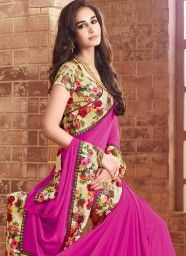 Exceptional Faux Georgette Patch Border Work Designer Saree