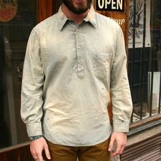 1910s Levi's 4-button pullover Sunset workshirt in indigo-dyed gingham