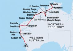 21 Day Darwin to Perth overview Australia Tours, Visit Australia, Western Australia, Australia Travel, Brisbane, Melbourne, Great Barrier Reef, Road Trip Map, Road Trips