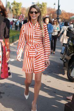 Stripes in street style Helena Bordon at Paris Fashion Week Spring 2015 #pfw #helenabordon