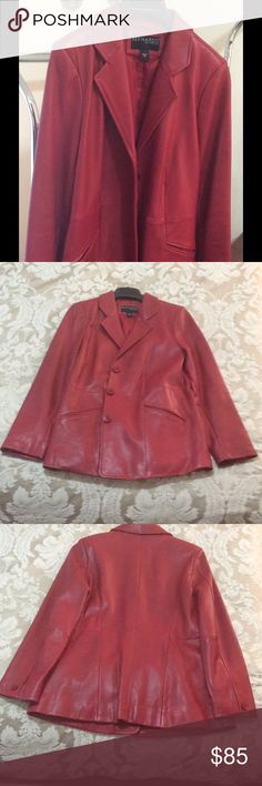 "Bernardo chic red leather jacket | petite M Don't miss this fabulous button up red (genuine) leather jacket by Bernardo. Roomy medium but petite length. Fully lined and in GREAT condition. Shoulder to hem measures approximately 27 "". Sleeves approximately 22"". Minor wear around button holes and tiny discoloration mark. (Flaws shown in last photo). All items come from 🚫smoke, 🚫pet home. All reasonable offers welcome 💰 Bernardo Jackets & Coats"
