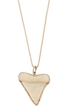 Shop White Shark Tooth Necklace by Anita Ko for Preorder on Moda Operandi