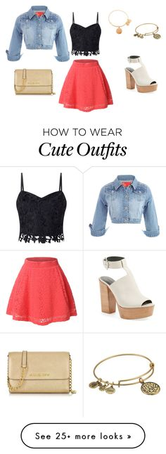 """""""Cute Spring Outfit"""" by mayabreezi on Polyvore featuring LE3NO, Lipsy, Rebecca Minkoff, Alex and Ani and Michael Kors"""