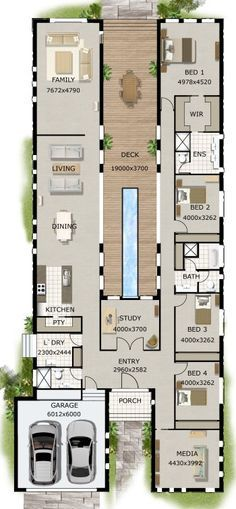 4 BEDROOM + STUDY HOUSE PLAN Make bed 2 bath for master suite and include both shower and tub .current bath would be closet, closet would be part of bedroom. Floor Plan 4 Bedroom, 4 Bedroom House Plans, Dream House Plans, Modern House Plans, House Floor Plans, Modern Floor Plans, Bedroom Bed, Bedroom Ideas, Bedrooms