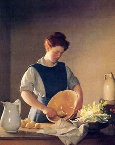 The Domestic Servant William McGregor Paxton – - The Kitchen Maid Paintings I Love, Beautiful Paintings, Kitchen Maid, Art Themes, Female Art, Illustration Art, Fine Art, History, Gallery