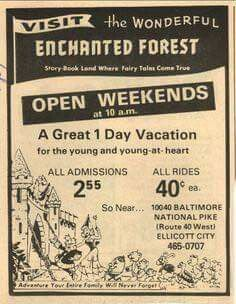 """""""Visit The Wonderful Enchanted Forest"""" - Ellicott City, Maryland, advertisement Enchanted Forest Maryland, Ellicott City Maryland, All Ride, Baltimore Maryland, Baltimore City, Old Advertisements, Advertising, Le Havre, Old Ads"""