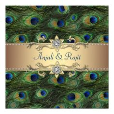 Custom Emerald Green Gold Royal Indian Peacock Wedding Personalized Invites created by decembermorning. This invitation design is available on many paper types and is completely custom printed. Peacock Wedding Invitations, 50th Birthday Party Invitations, Save The Date Invitations, 40th Birthday, Invites Wedding, Invitations Online, Wedding Stationery, Birthday Ideas, Gold Invitations