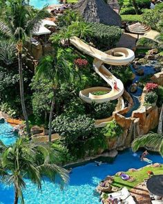 Resort pool & slide - Maui, Hawaii