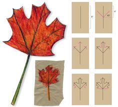 How to Draw a Fall Maple Leaf. Colored pencils--press hard and blend colors.